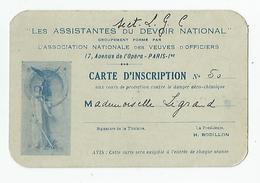 Carte De Visite - Association Des Veuves D'officiers Assistantes Du Devoir National Carte D'inscription 1934 - Visiting Cards