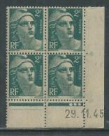 France N° 713 XX Marianne Gandon  2 F.  Vert En Bloc De 4 Coin Daté Du 29 . 11 . 45 , 3  Points Blancs Sans Ch., TB - Coins Datés
