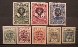 Polen/Poczta Polska/ 1918 - 1919* Mi.Nr.17 - 19 / 118 - 122 Ungebraucht Falzspur  (M122) - Nuevos