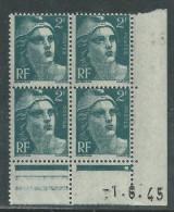 France N° 713 XX Marianne Gandon  2 F.  Vert En Bloc De 4 Coin Daté Du 1 . 6 . 45 , 1  Point Blanc Sans Ch., TB - Coins Datés