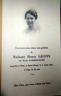 MEMORANDUM  SOUVENIR  MARIE HENRY LICOYS NEE RENEE DAMBRICOURT  SAINT CLOUD FAIRE PART DECES - Décès