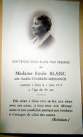 MEMORANDUM  SOUVENIR  MADAME EMILE BLANC NEE AMELIE CHARLES MESSANGE FAIRE PART DECES - Décès
