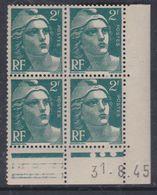 France N° 713 XX Marianne De Gandon 2 F. Vert En Bloc De 4 Coin Daté Du 31 . 8 . 45 , 3 Pts Blancs Sans Ch. TB - Coins Datés