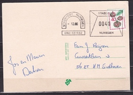 -12-1986 Zegel 40 C Particuliere Stadspostdiensten Afgestempeld STADSPOST NIJMEGEN Op Gelopen Nieuwjaarskaart - Poststempels/ Marcofilie