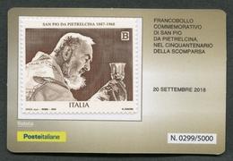 ITALIA 2018 - TESSERA FILATELICA - ANNIVERSARIO SCOMPARSA SAN PIO DA PIETRALCINA - MNH**- 831 - 1946-.. République