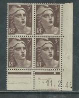 France N° 715 XX Marianne Gandon  3 F. Brun Foncé En Bloc De 4 Coin Daté Du  11 . 2 . 46 , 1 Point Blanc Sans Ch., TB - Coins Datés