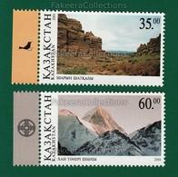 KAZAKHSTAN 2001 - ENVIRONMENT PROTECTION 2v MNH ** - Mountains, Sharyn Canyon, Khan Tengri Peak - As Scan - Environment & Climate Protection