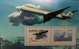 O) 2002 SPAIN, IBERIAN AIRLINES, AIRPLANE -ROHRBACH R-VII ROLAND- BOEING, SOUVENIR MNH - 2001-10 Unused Stamps