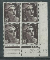 France N° 715 XX Marianne Gandon  3 F. Brun Foncé En Bloc De 4 Coin Daté Du 20 . 3 . 45 , 3  Points Blancs Sans Ch., TB - Coins Datés