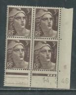 France N° 715 XX Marianne Gandon  3 F. Brun Foncé En Bloc De 4 Coin Daté Du  14 . 2 . 46 , 3 Points Blancs Sans Ch., TB - Coins Datés