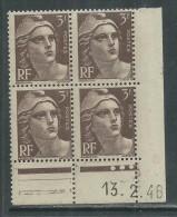 France N° 715 XX Marianne Gandon  3 F. Brun Foncé En Bloc De 4 Coin Daté Du  13 . 2 . 46 , 3 Points Blancs Sans Ch., TB - Coins Datés