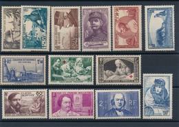 N-114: FRANCE:  Lot  Avec Timbres** De 1940 N°451/52-454/57-458-459/60-451-462/64 - France