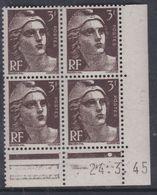 France N° 715 XX Marianne Gandon  3 F. Brun Foncé En Bloc De 4 Coin Daté Du  24 . 3 . 45 , 1 Point Blanc Sans Ch., TB - Coins Datés