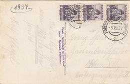 ÖSTERREICH 1937 - 3x1 Gro Auf Ak Seebad PÖRTSCHACH - 1918-1945 1. Republik