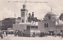 CARTOLINA - POSTCARD - ALGERIA - ALGER - STATUE DU DUC D' ORLEANS ET MOSQUE DJEMAS DJEDID - Algeria
