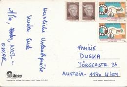 TÜRKEI 1968 - 4 Fach Frankierung Auf Ak ANTALYA - Briefe U. Dokumente