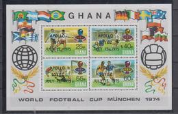 GHANA 1974 FOOTBALL WORLD CUP OVERPRINT APOLLO SOYUZ SPACE S/SHEET - 1974 – Allemagne Fédérale