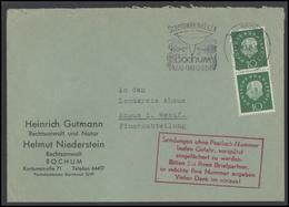 GERMANY Deutschland D BRD Brief 0839 Bochum Slogan Cancellation - Briefe U. Dokumente