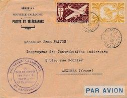 Lettre Par Avion France Libre Noumea Le Chef Du Service Des Postes Et Télégraphes - Nueva Caledonia