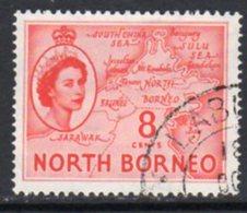 Malaya North Borneo 1954 Definitives 8c Value, Used, SG 377 - North Borneo (...-1963)