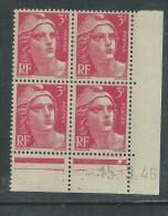 France N° 716 XX Marianne De Gandon  3 F. Rose En Bloc De 4 Coin Daté Du  15 . 3 . 46 , 1 Point Blanc Sans Ch., TB - Coins Datés