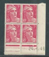 France N° 716 XX Marianne De Gandon  3 F. Rose En Bloc De 4 Coin Daté Du  24 . 4 . 46 , 1 Point Blanc Sans Ch., TB - Coins Datés