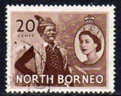 Malaya North Borneo 1954 Definitives 20c Value, Used, SG 380 - North Borneo (...-1963)