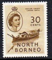 Malaya North Borneo 1954 Definitives 30c Value, MNH, SG 381 - North Borneo (...-1963)
