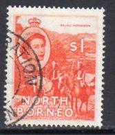Malaya North Borneo 1954 Definitives $1 Value, Used, SG 383 - North Borneo (...-1963)