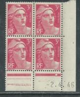 France N° 716 XX Marianne De Gandon  3 F. Rose En Bloc De 4 Coin Daté Du  2 . 4 . 46 , 1 Point Blanc Sans Ch., TB - Coins Datés