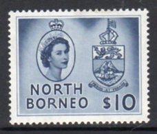 Malaya North Borneo 1954 Definitives $10 Value, Hinged Mint, SG 386 - North Borneo (...-1963)