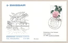 China - Schweiz - 1974 - 52f Stamp On First Flight Swissair From SHANGHAI To Zurich - Flowers - Eerste Vluchten