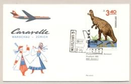 Polska - Schweiz - 1965 - 3,40 Zl Dinosaur On First Flight Swissair From Warschau / Warszawa To Zürich - First Flight Covers