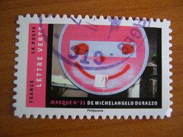 France  Obl Série Masques N° 1408 Cachet Rond Noir - France