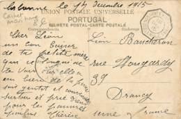 Poste Maritime - Cachet De 1915 De La Ligne De Buenos Ayres à Bordeaux 2° - L.K. N°5 - Carte De Lisboa - Correo Marítimo