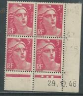 France N° 716 XX Marianne De Gandon  3 F. Rose En Bloc De 4 Coin Daté Du 29 . 10 . 46 , 3 Points Blancs Sans Ch., TB - Coins Datés