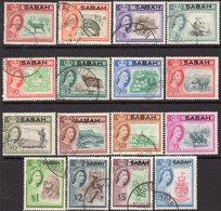 Malaysia Sabah 1964 Overprints Set Of 16, Used, SG 408/23 - Malaysia (1964-...)