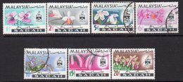 Malaysia Sabah 1965 Orchids Definitives Set Of 7, Used, SG 424/30 - Malaysia (1964-...)