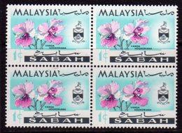 Malaysia Sabah 1965 Orchids 1c Value Block Of 4, 'Caterpillar Flaw', (top Left), MNH, SG 424 - Malaysia (1964-...)