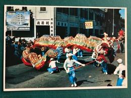 MACAU EARLY 70'S STREETS DRAGON DANCE PPC. - China