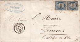 DC28 France 1852 LSC - CHAUNY Petite Chiffres 829 X LOUVRES - 2 X 25 C. Timbres - 1852 Louis-Napoleon