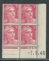 France N° 716 XX Marianne De Gandon  3 F. Rose En Bloc De 4 Coin Daté Du  7 . 9 . 46 , 3 Points Blancs Sans Ch., TB - Coins Datés