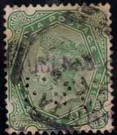 Grossbritannien (alte Kolonien Und Herrschaften) > Indien  1852-1901 Victoria/2 X Gestempelt(schwarz+Blau?) Perfin - 1854 East India Company Administration