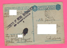 Franchigia IX° Bersaglieri Folignano Per Padova 1942 Posta Militare  II° WW Timbri - Militärpost (MP)