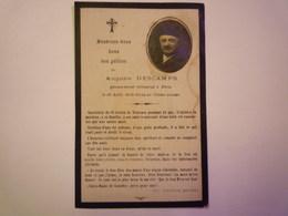 FAIRE-PART  De Décès De  Auguste  DESCAMPS  Sacristain De St-SERNIN De  TOULOUSE  Pendant 45 Ans  XXX - Obituary Notices