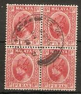 MALAYA - PERAK 1937 6c  SG 92 FINE USED BLOCK OF 4 Cat £30 - Perak