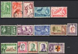 Malaya Sarawak 1955-9 Definitives Set Of 15, Used, SG 188/202 - Sarawak (...-1963)