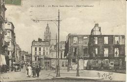 LILLE  , Le Parvis à Saint Maurice , Hôtel Continental , 1921 , CPA ANIMEE - Lille