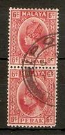 MALAYA - PERAK 1937 6c  SG 92 IN A FINE USED VERTICAL PAIR Cat £15 - Perak