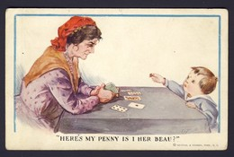 FORTUNE TELLING PLAYING CARD CARDS ~ Gypsy Reading Cards, Boy - Here's My Penny Is I Her Beau? RN #165 CT Twelvetrees - Playing Cards